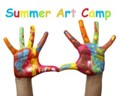 painted hands with words summer art camp